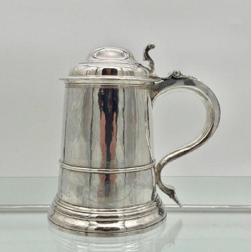 antique george ii sterling silver tankard cover london 1735 thomas mason