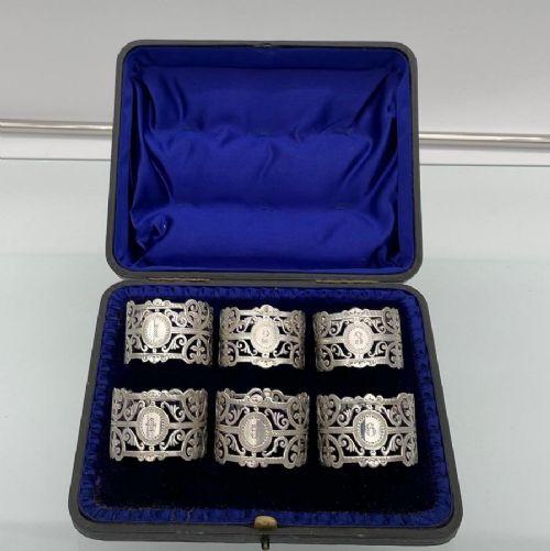 early 20th century antique edwardian sterling silver set six napkin rings london 1906 george maudsley jackson david fullerton