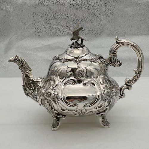 antique victorian sterling silver teapot london 1845 a b savory sons