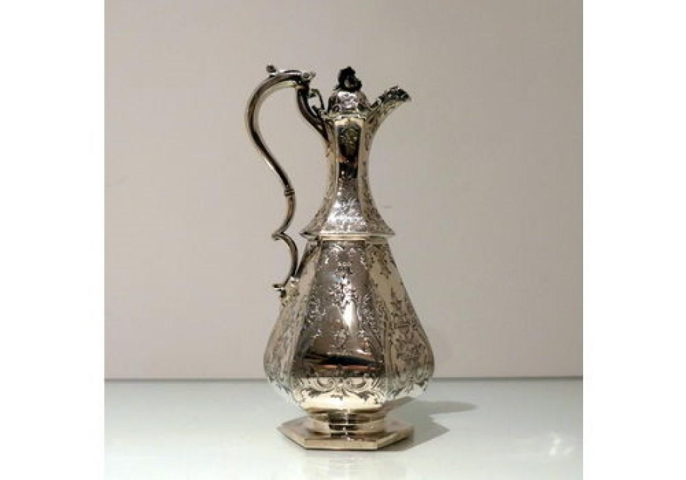19th century antique victorian sterling silver wine jug london 1852 creswick family