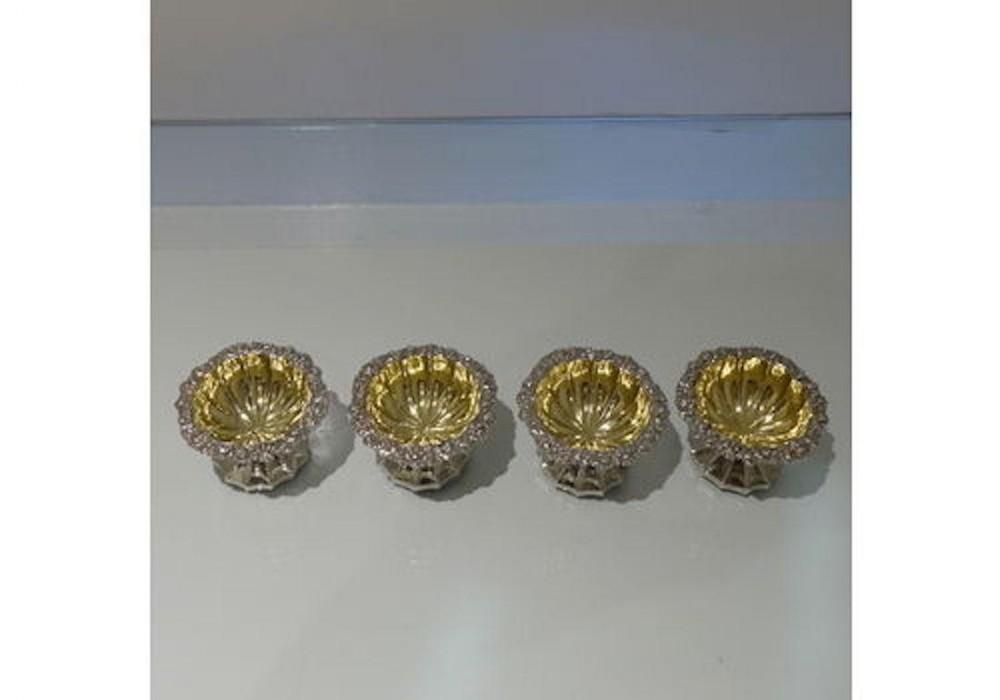 antique sterling silver set four salts london 1825 rebecca emes edward barnard