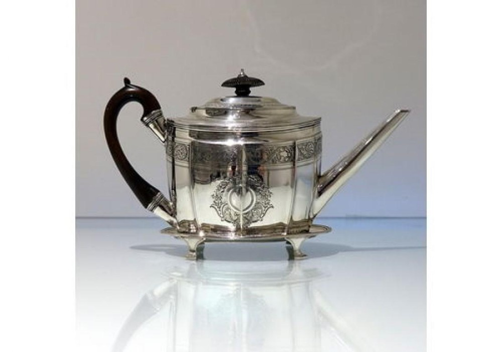 18th century antique george iii sterling silver teapot on stand london 1799 james elizabeth bland