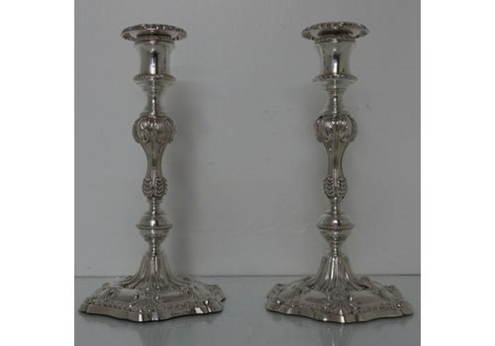 19th century antique victorian silverplated pair of candlesticks walker hall