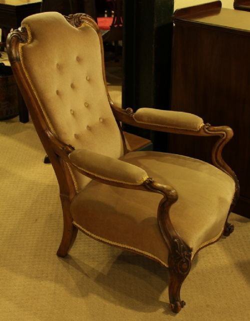 a victorian rosewood framed openarm easy chair - photo angle #2