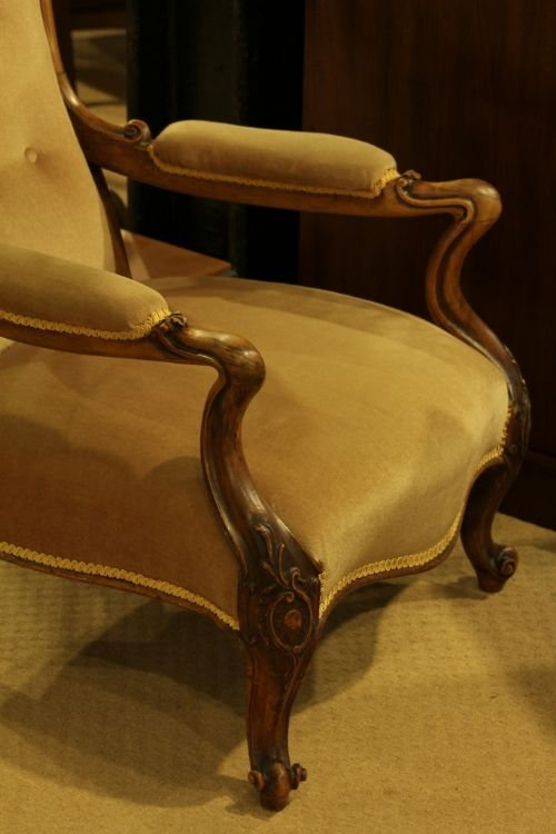a victorian rosewood framed openarm easy chair - photo angle #3