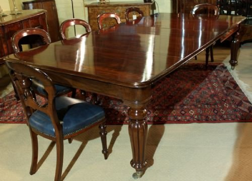 an elegant 1012 seater early victorian cuban mahogany dining table - photo angle #2