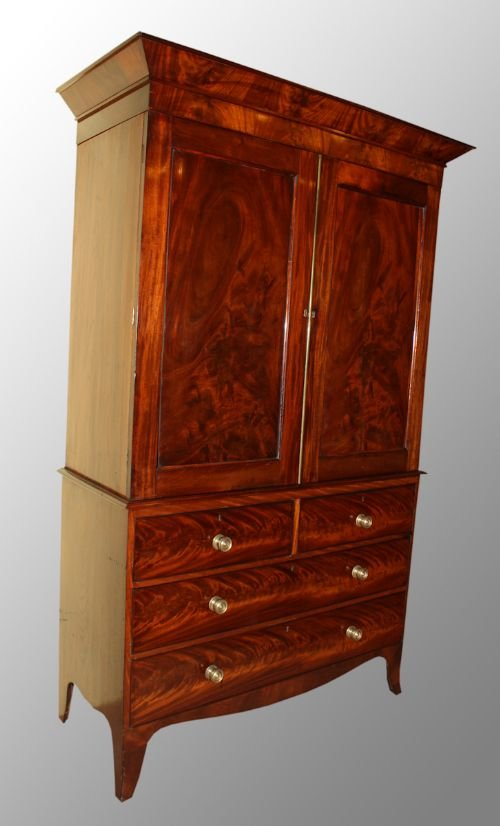 mahogany regency period linen press - photo angle #2