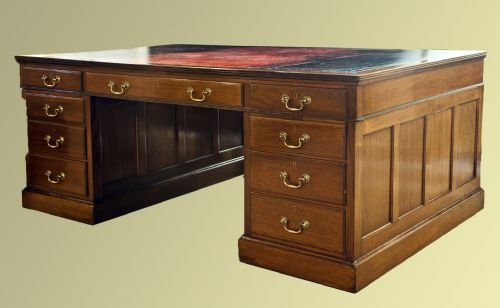 late edwardian mahogany nine drawer desk - photo angle #2