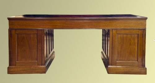 late edwardian mahogany nine drawer desk - photo angle #3