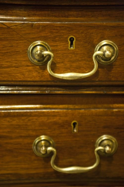 late edwardian mahogany nine drawer desk - photo angle #4