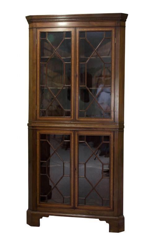 edwardian mahogany inlaid double corner cabinet