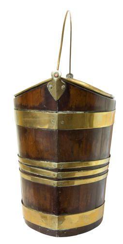 18thc mahogany brass bound bucket