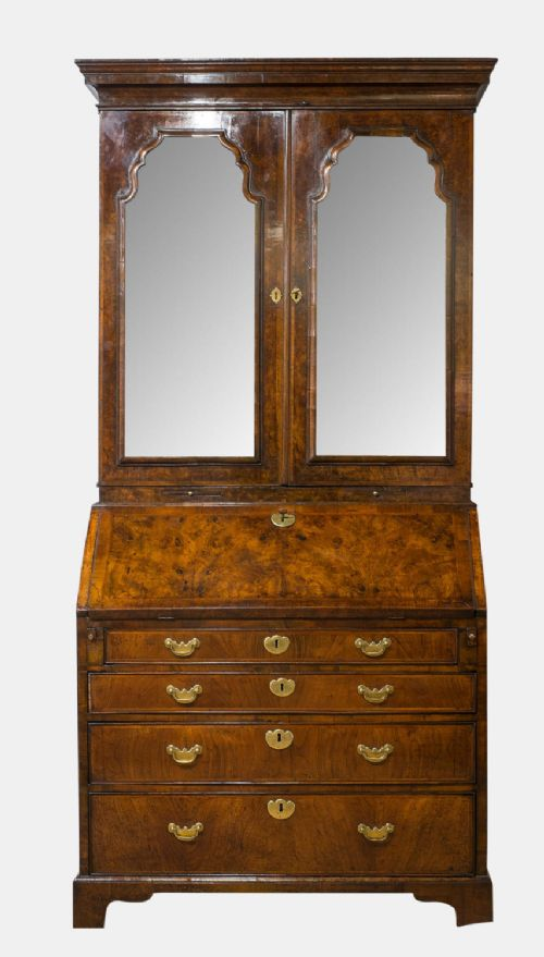 18thc walnut bureau bookcase with mirrored doors to upper section