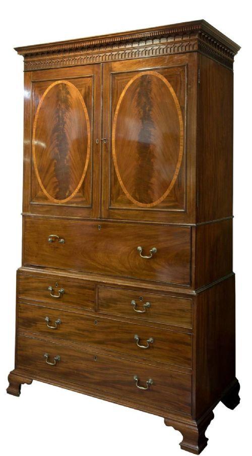 a george iii mahogany secretaire linen press
