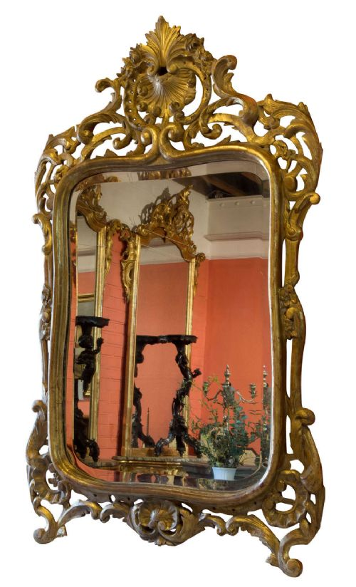napoleon iii gilded bevelled mirror with shell cresting