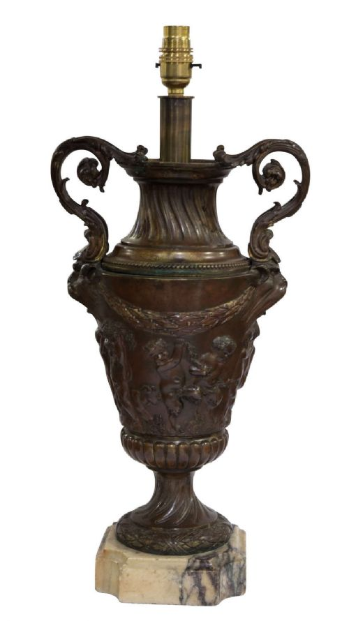 marble based bronze urn adapted as a table lamp rewired