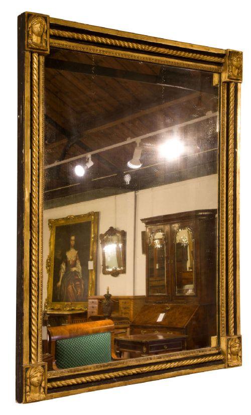 late 19th century ebonised parcel gilt mirror
