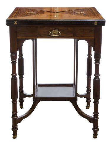a late victorian inlaid rosewood envelope card table