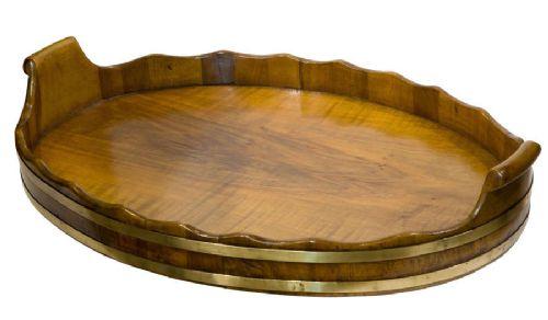 antique walnut brass bound oval tray
