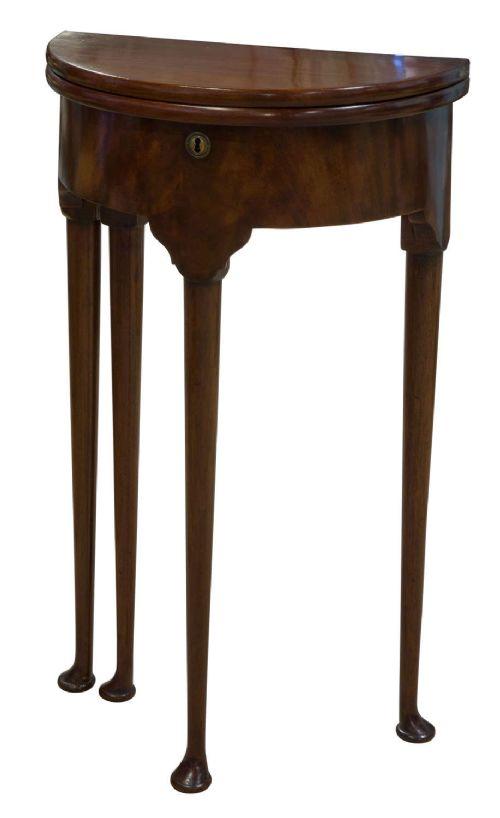 geo iii style mahogany demi lune foldover table