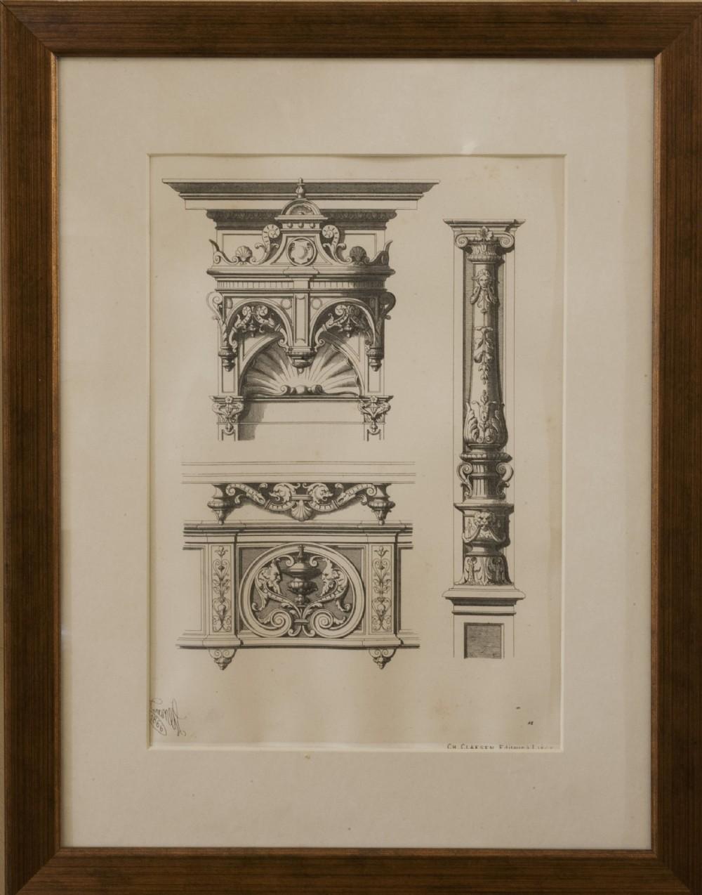 Set Of 4 Architectural Prints 274576 Sellingantiques Co Uk