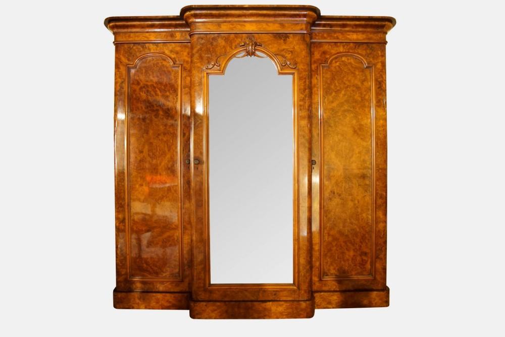 victorian walnut 3 door breakfront wardrobe