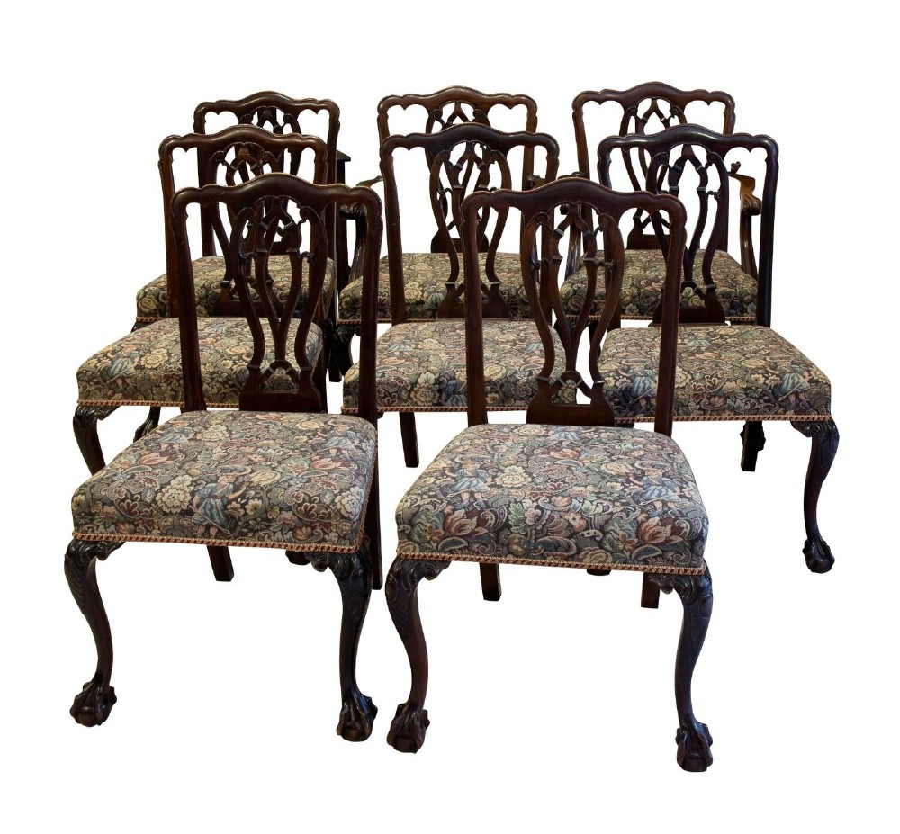 set of 8 solid mahogany chippendale style chairs