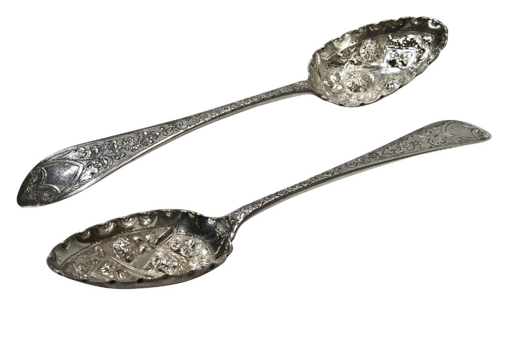pair of george iii silver berry spoons edinburgh 1792