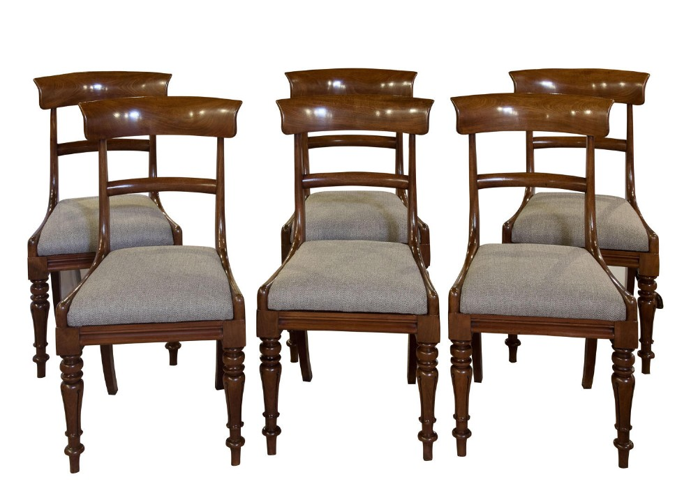 set of 6 good mahogany bar back dining chairs c1830