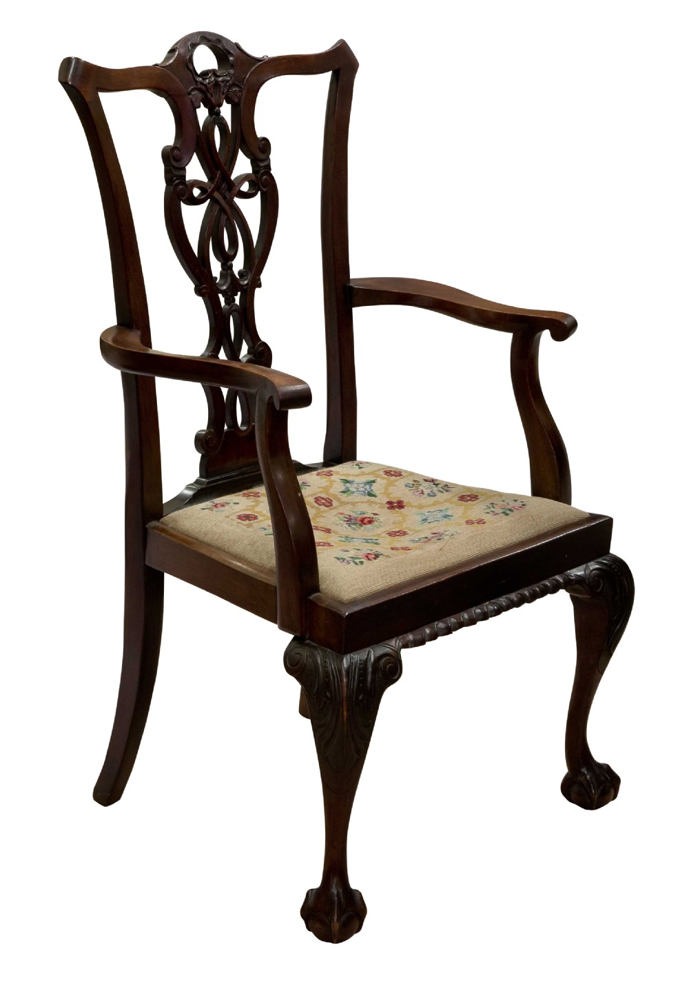 mahogany chippendale style carver chair on ball and claw legs c1900