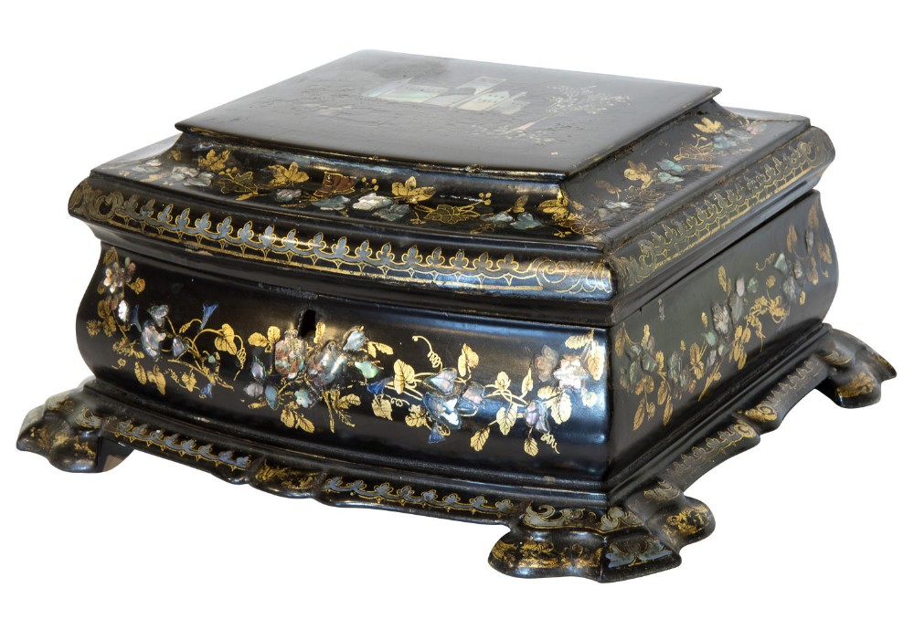 19thc papier mache mother of pearl inlaid box