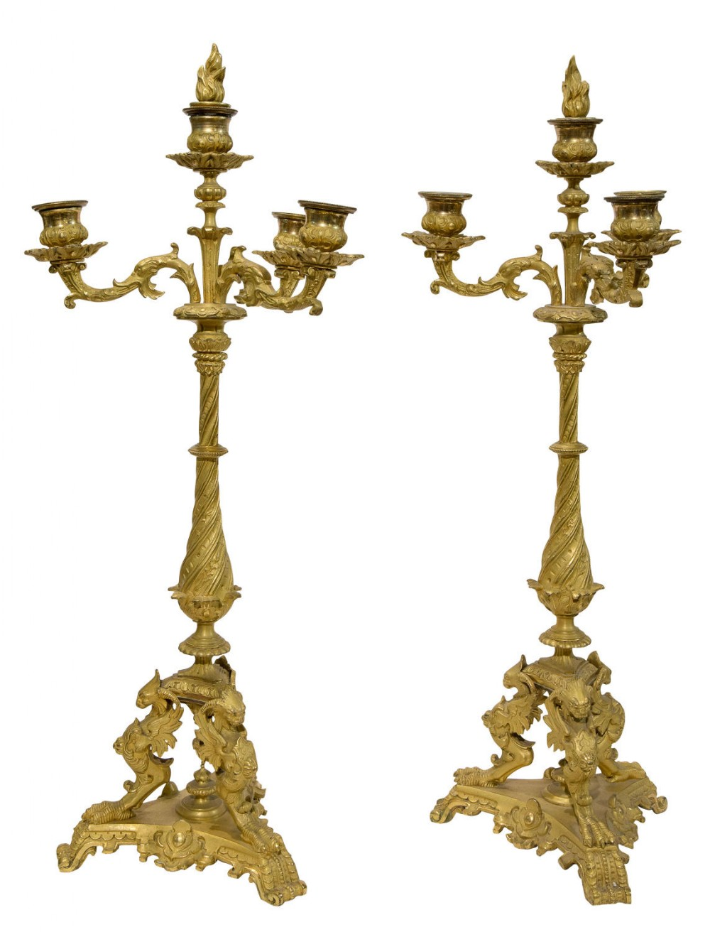 19thc pair of bronze three branch candelabra