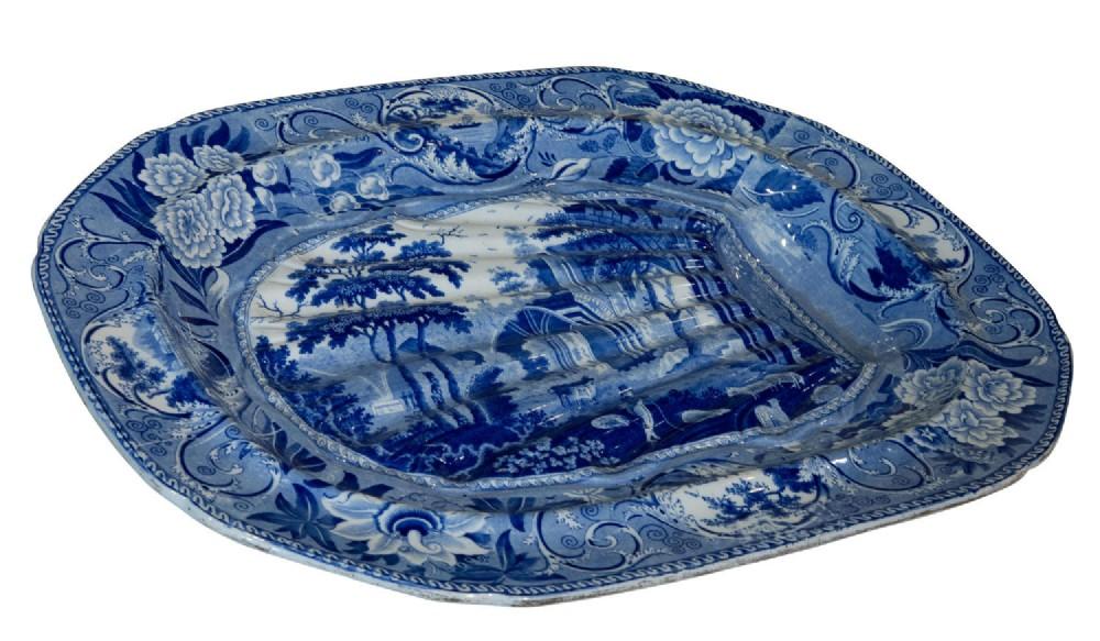 blue white meat dish c1820