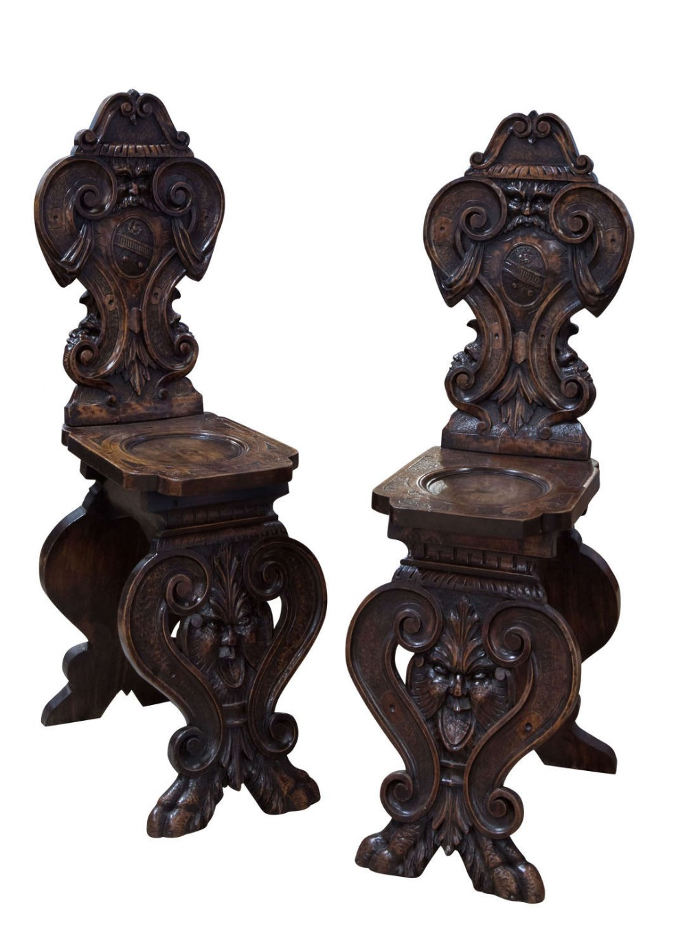 pair of 1880's italian hall chairs