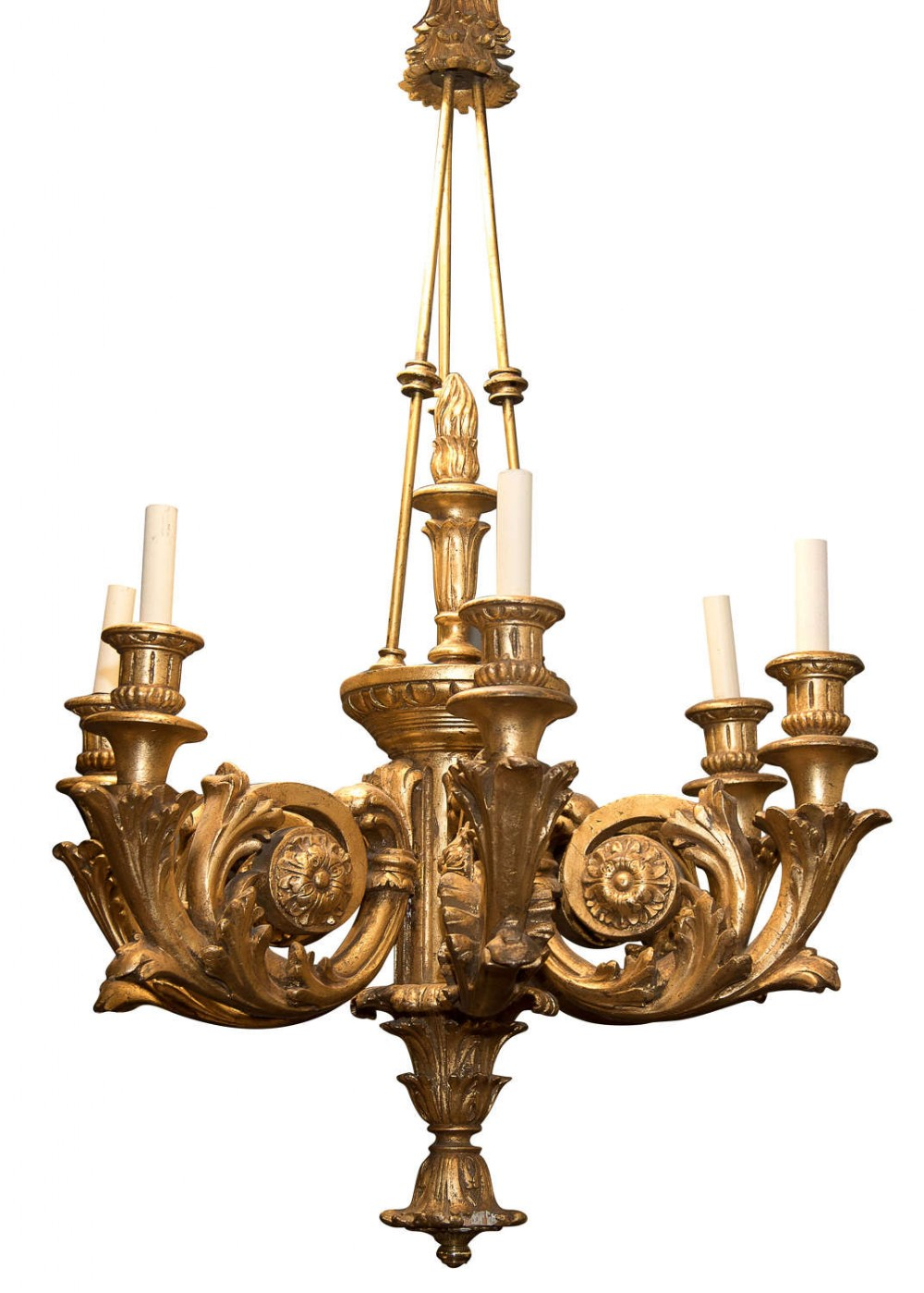 large carved giltwood 6 arm chandelier c1920 rewired