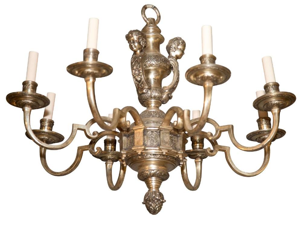 silvered metal 8 light 'knowle' style chandelier in george i taste