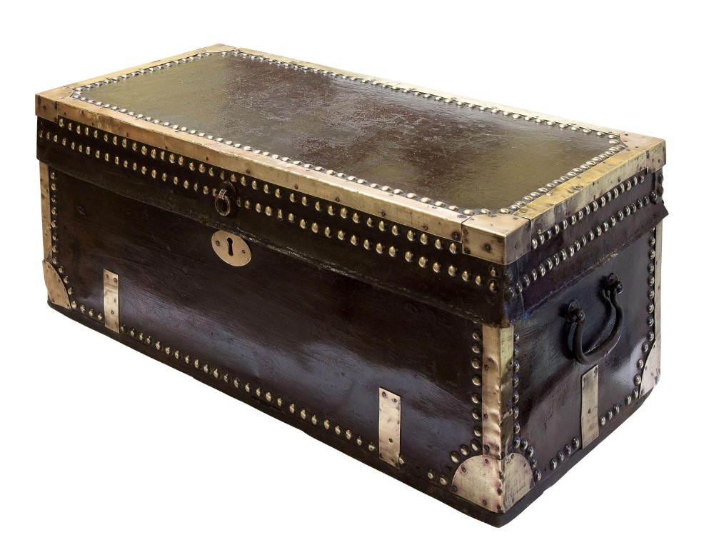 leather and brass mounted military campaign chest