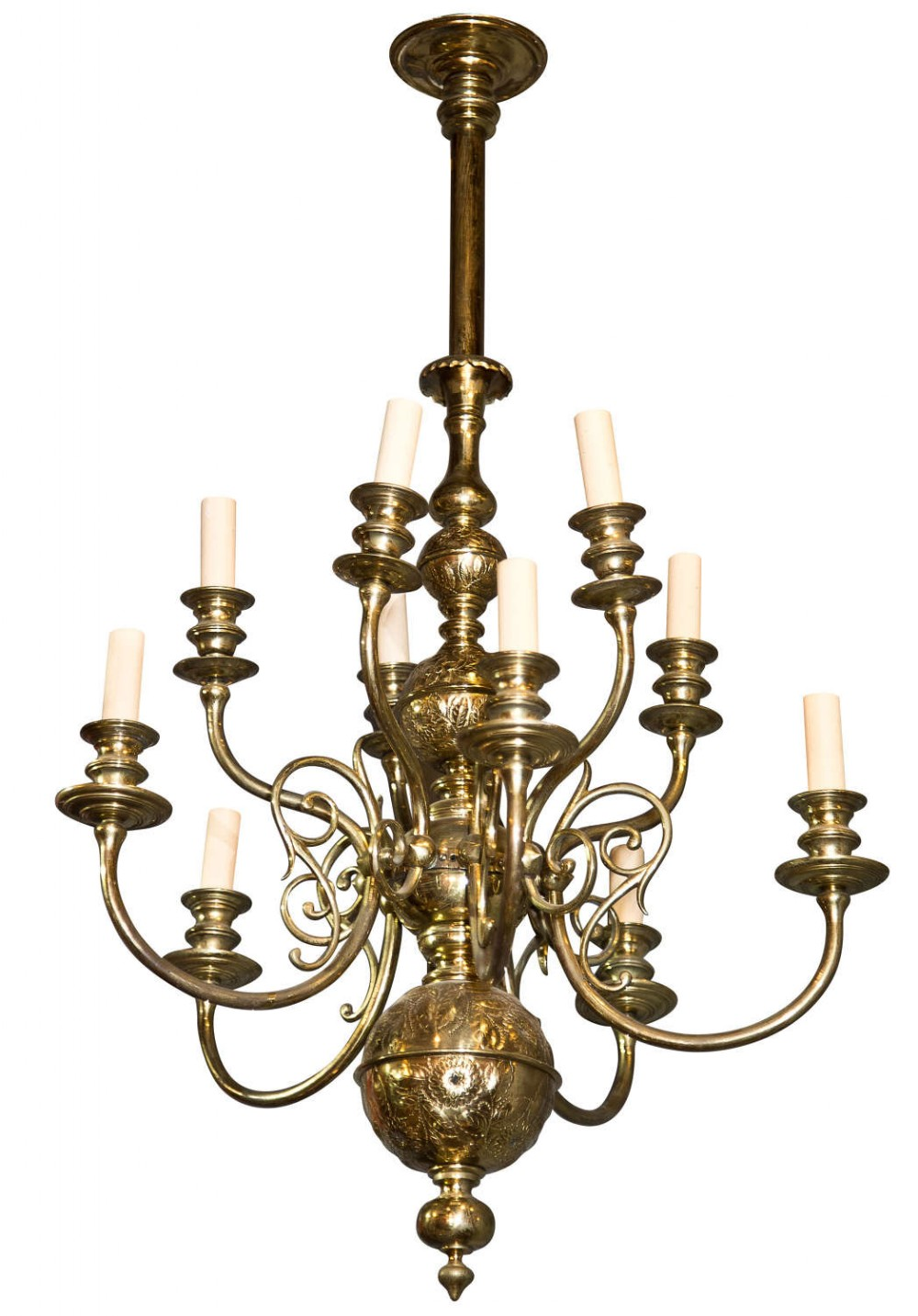 brass dutch style 2 tier chandelier with engraved decoration 10 arms