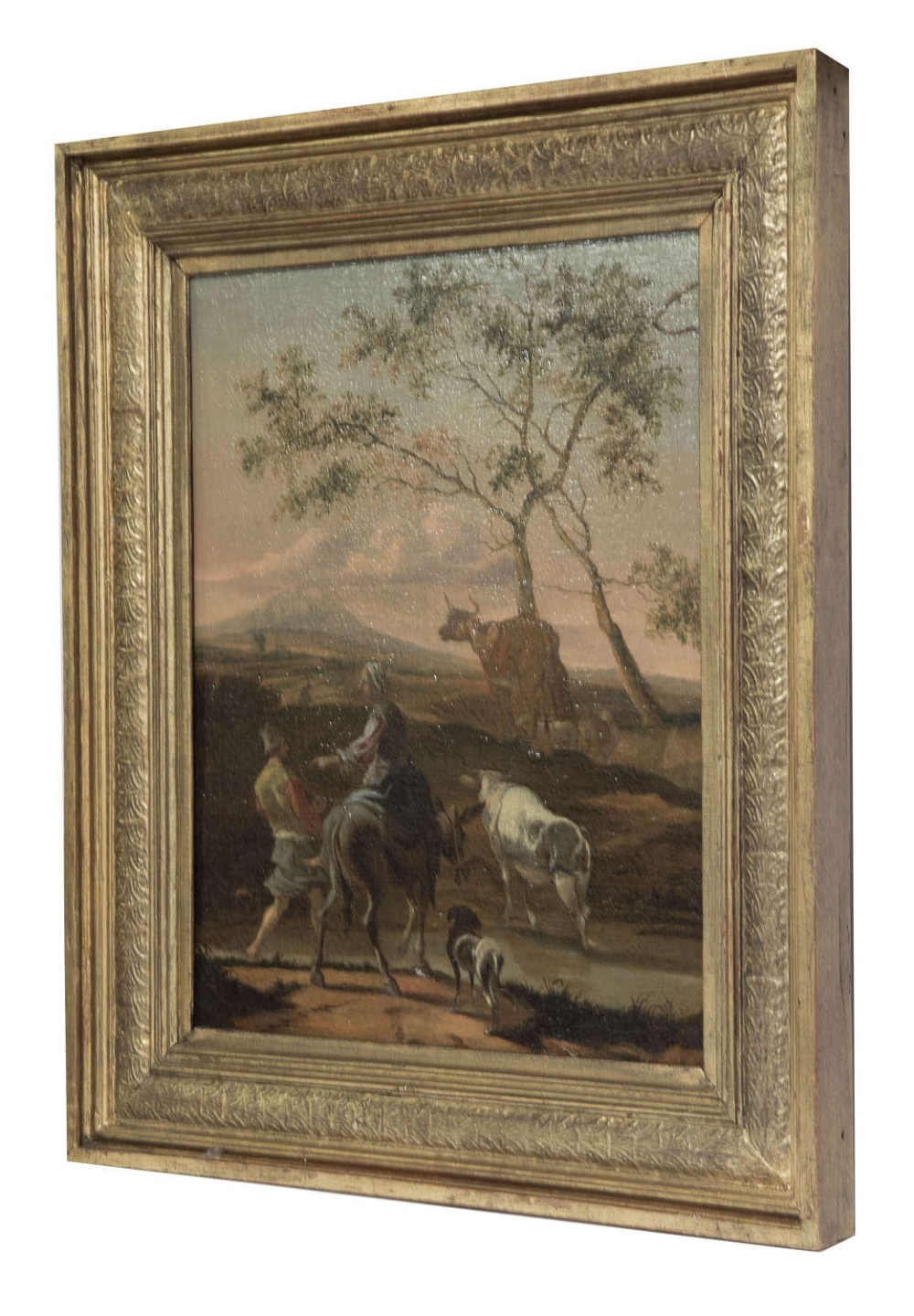 oil on canvas of sheep cattle in a landscape c1860