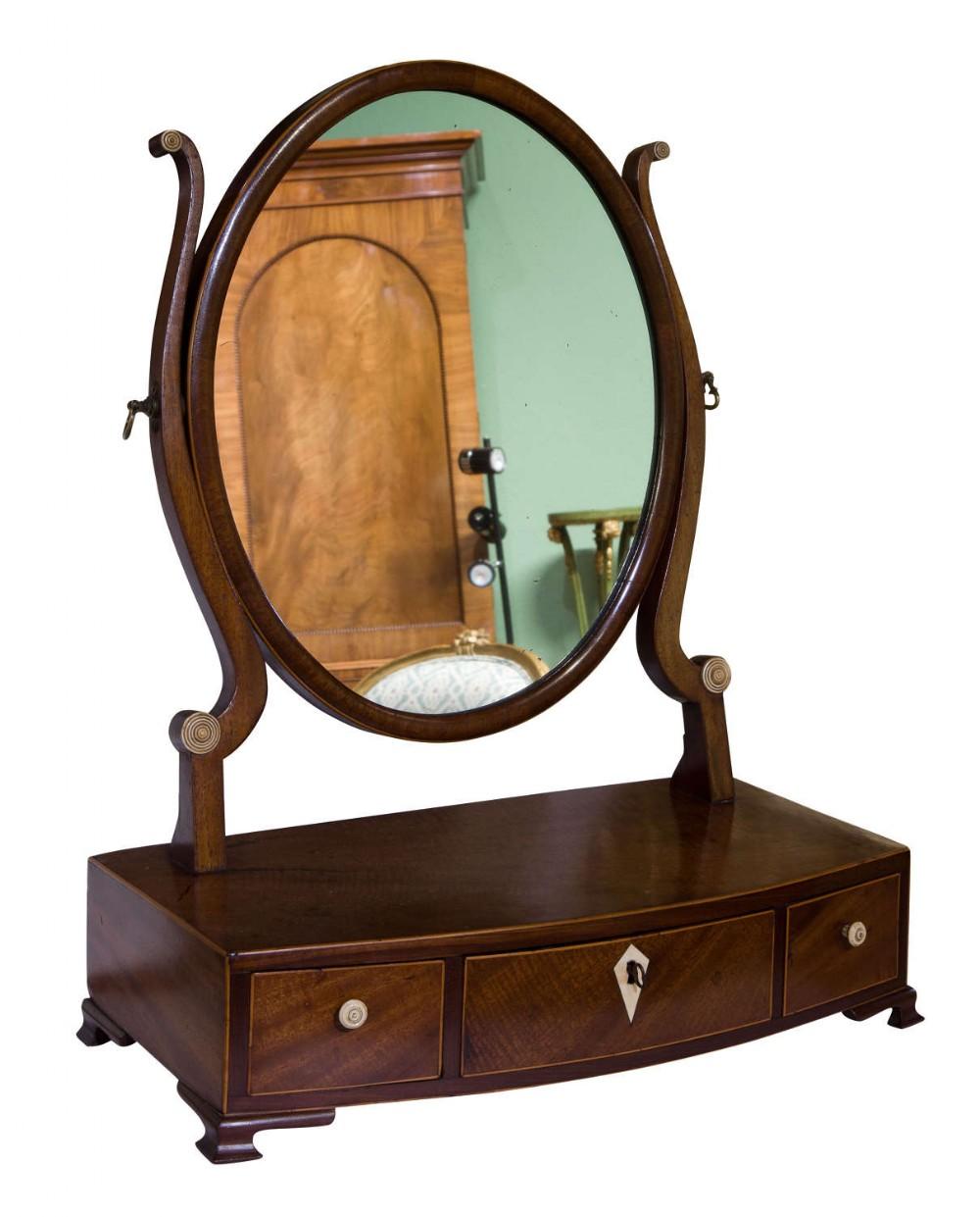 georgian oval mahogany dressing table mirror