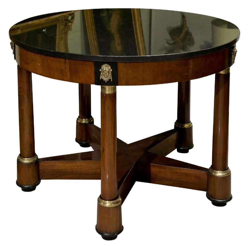 circular mahogany empire gueridon table