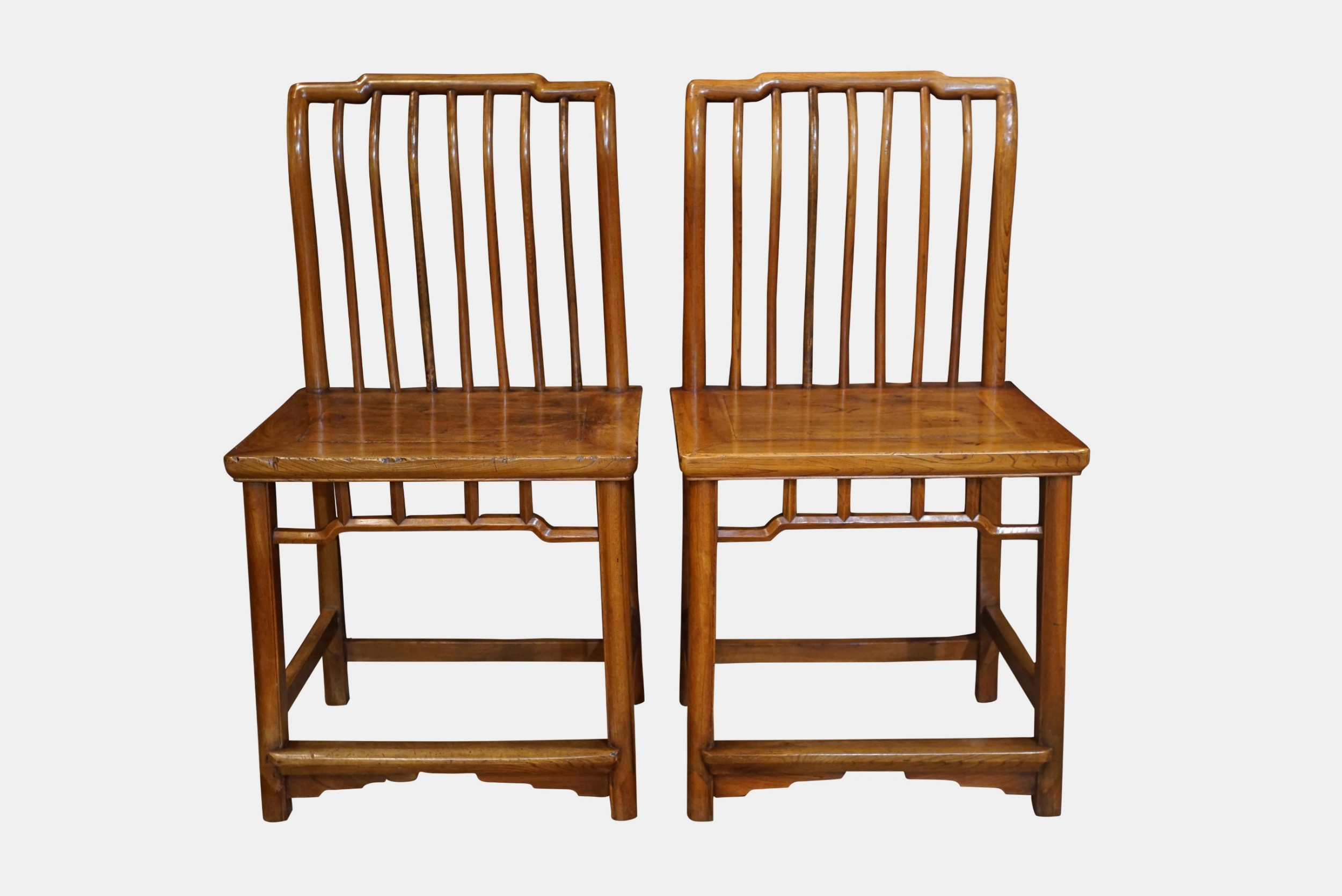pair of elm chinese side chairs