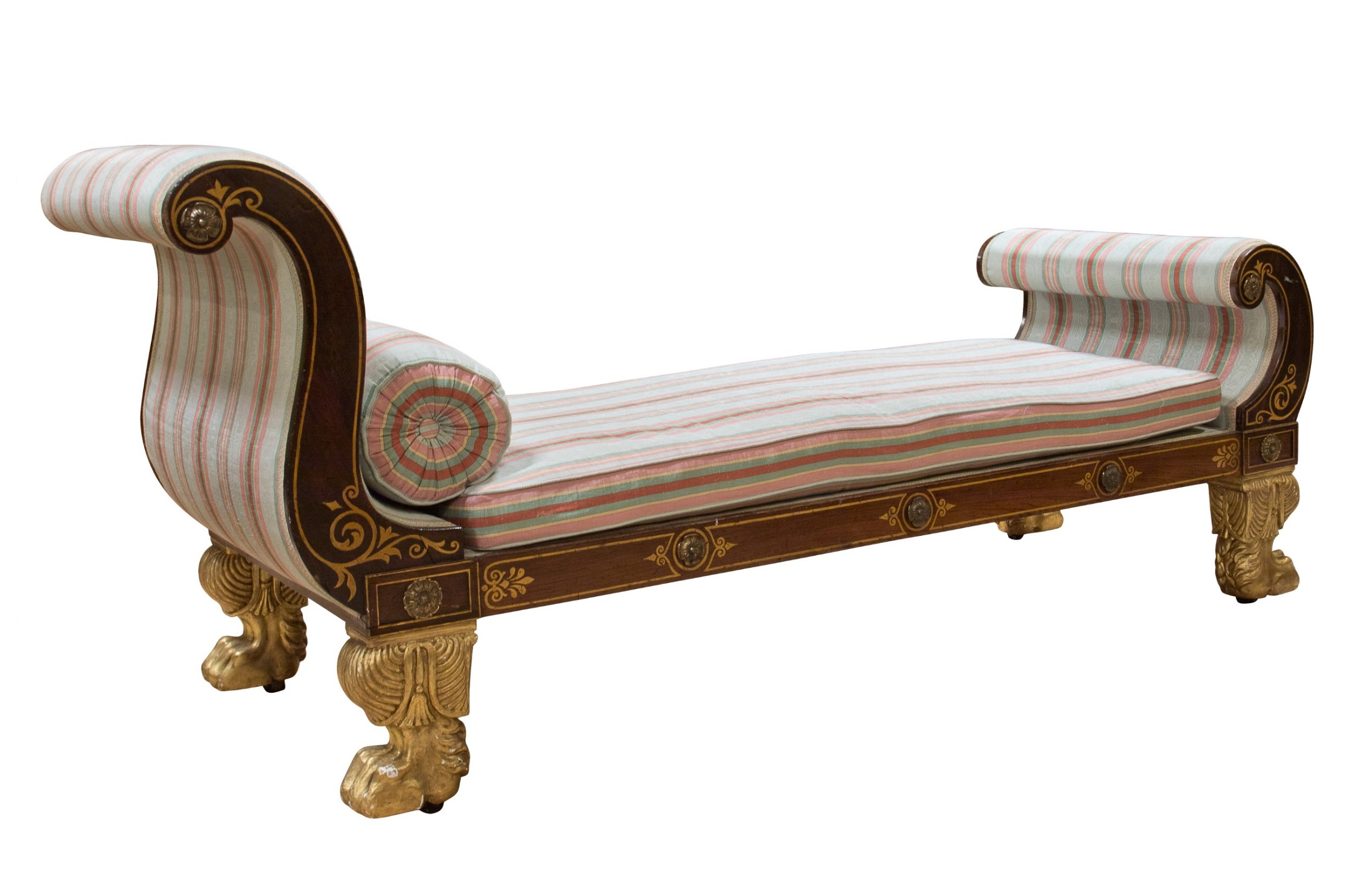 regency faux rosewood and ormolu mounted chaise longue