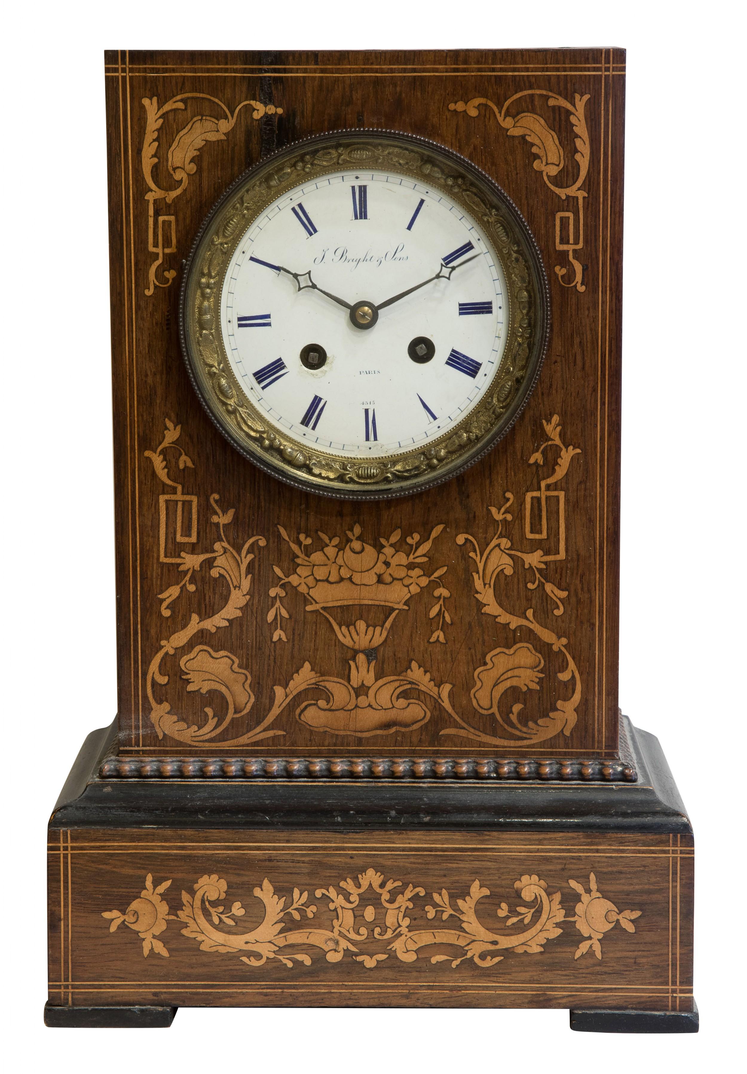 rosewood cased mantel clock signed 'potonie' paris