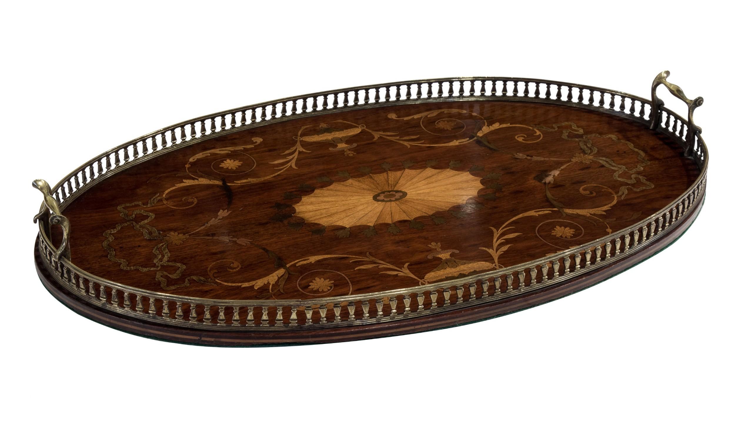 victorian mahogany and marquetry oval tray