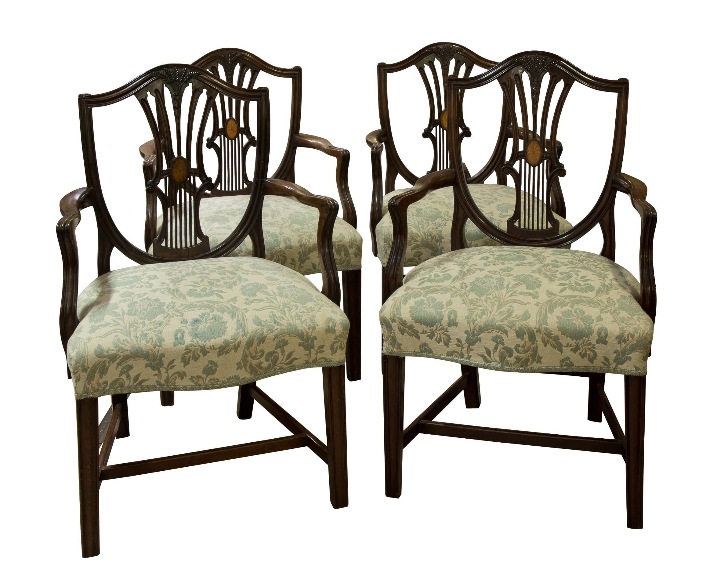 set of four mahogany hepplewhite style shield back armchairs