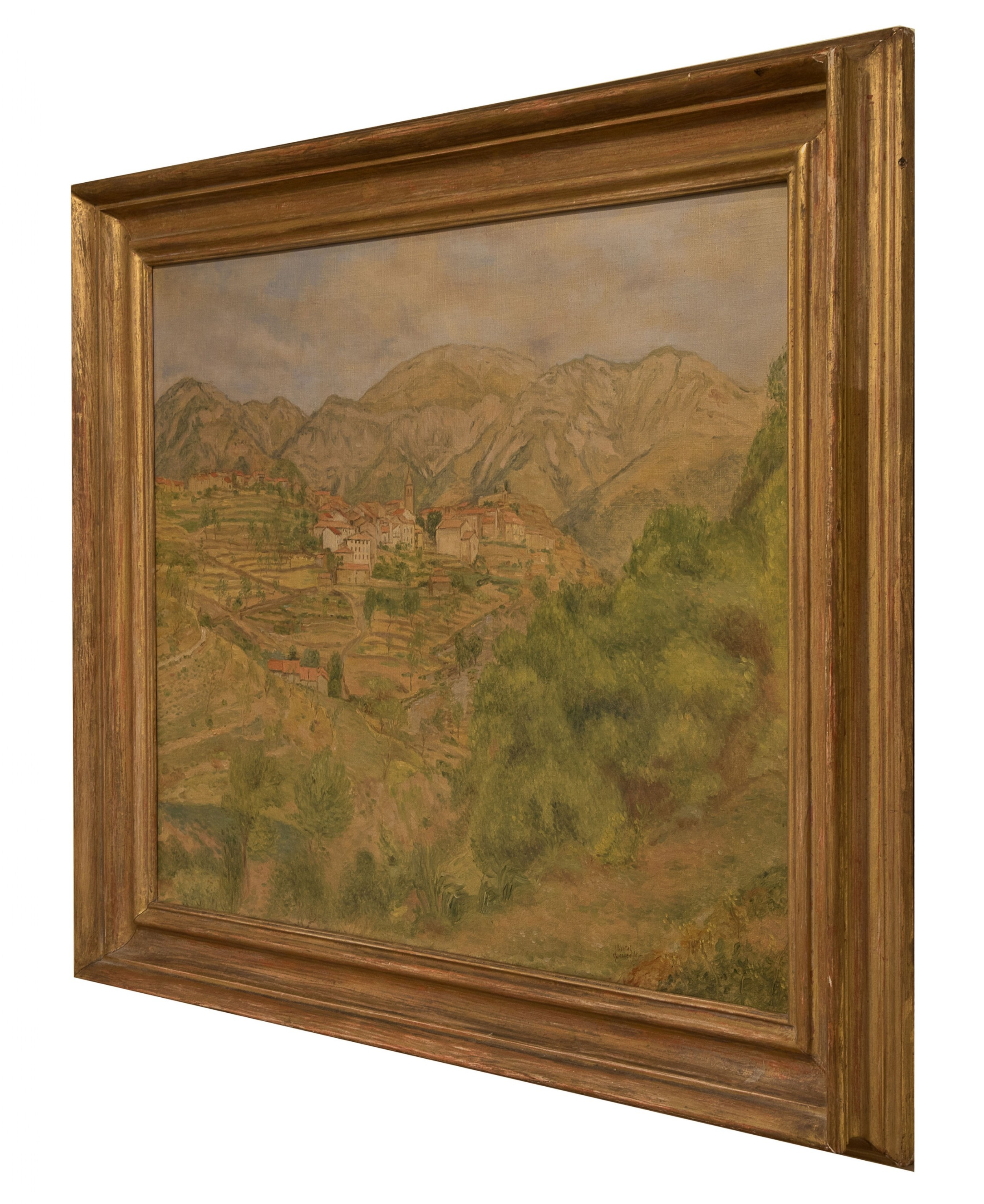oils on canvas village in luberon by chantal queenville c1930