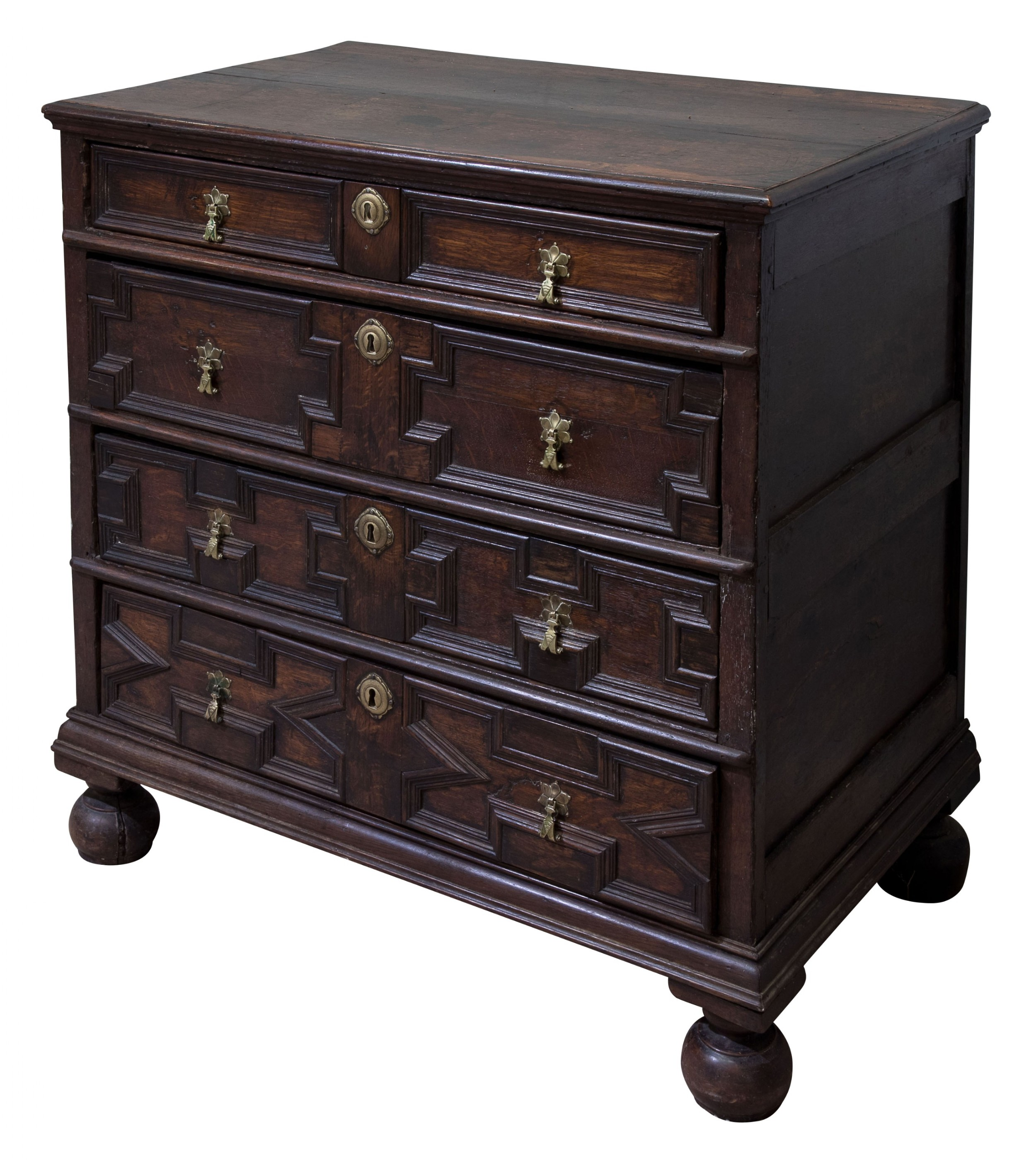 william mary period moulded front oak chest on bun feet c1690