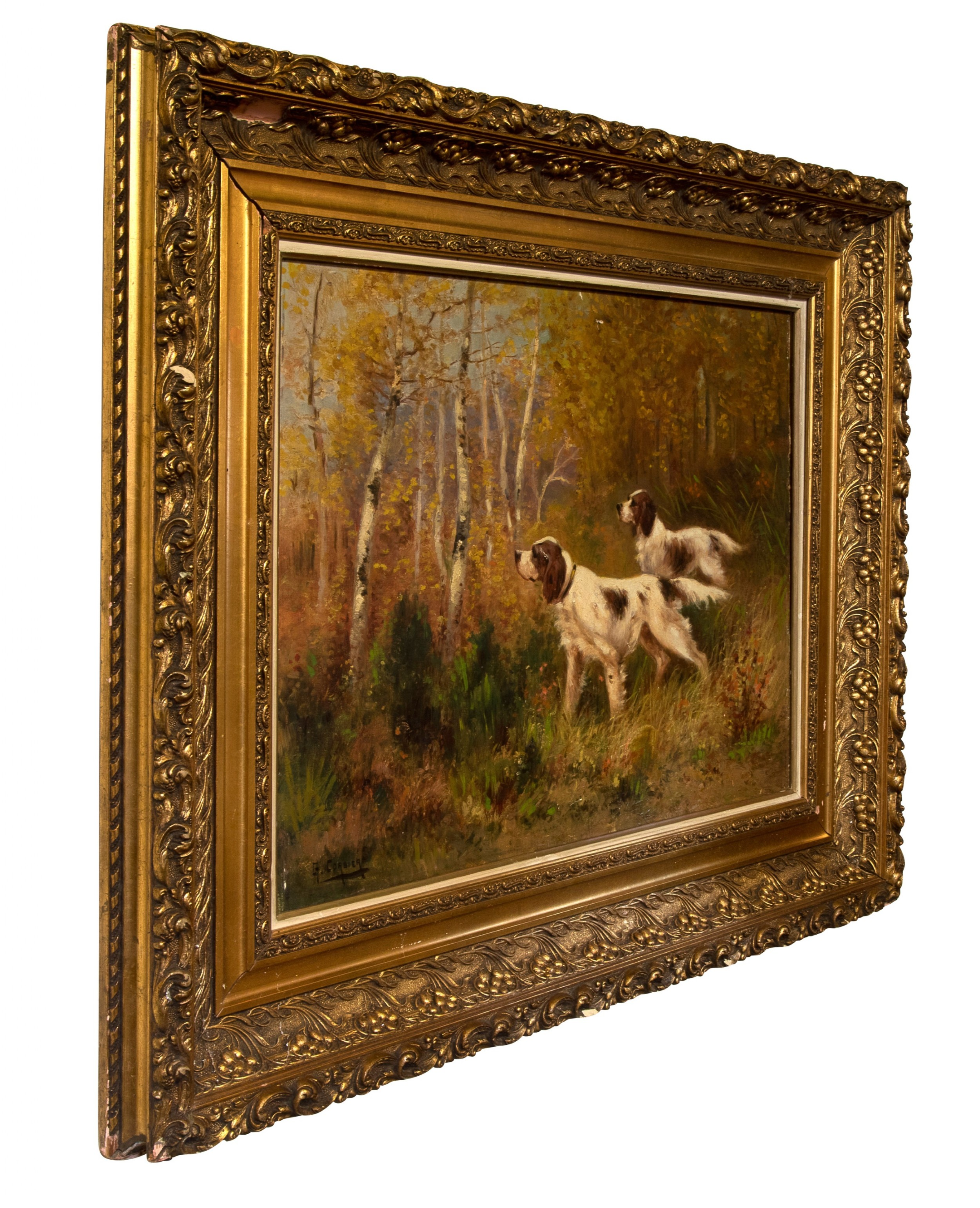 fine oil painting on canvas of two setters in a woodland setting c1920