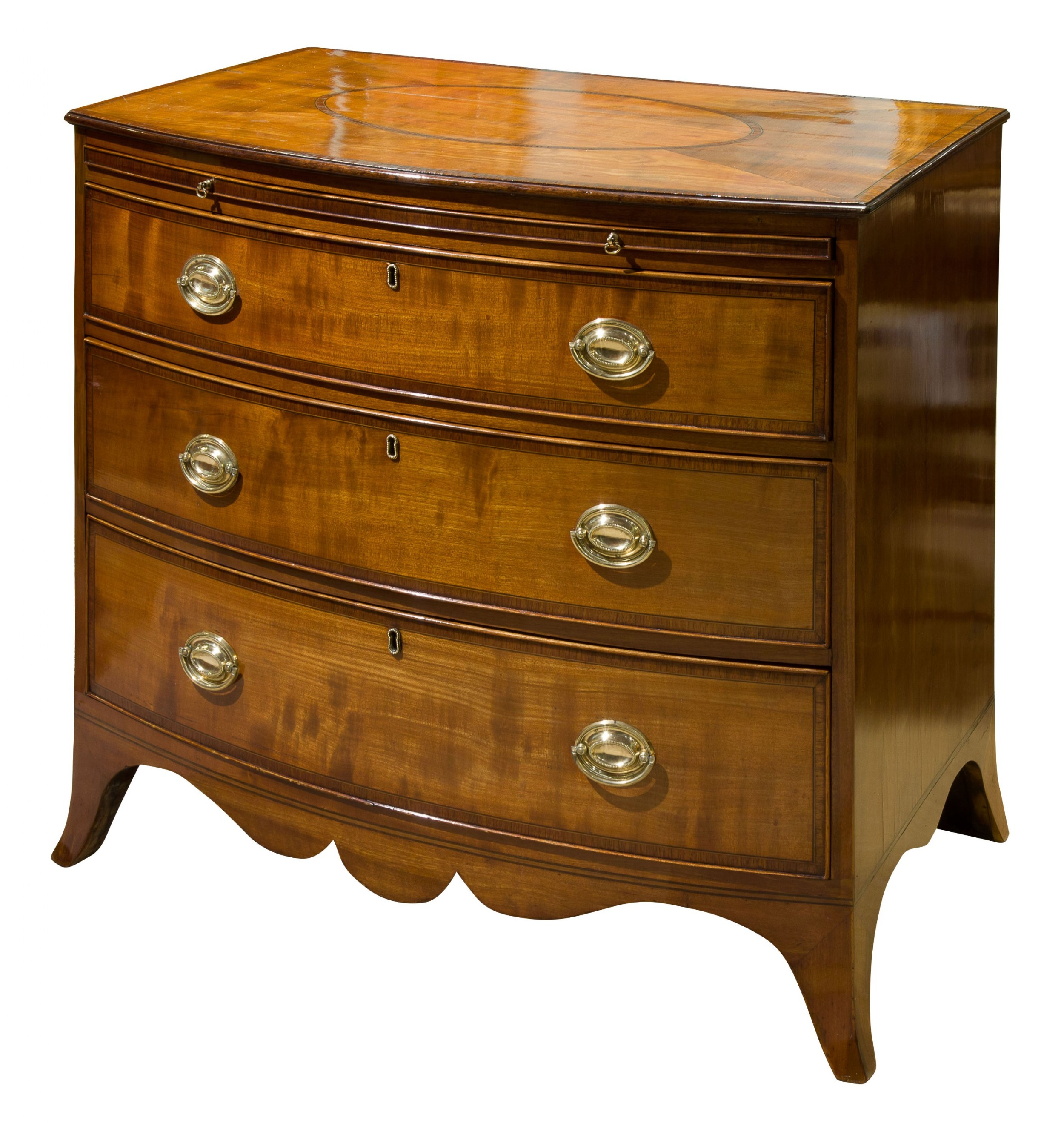 george iii three drawer bow fronted chest